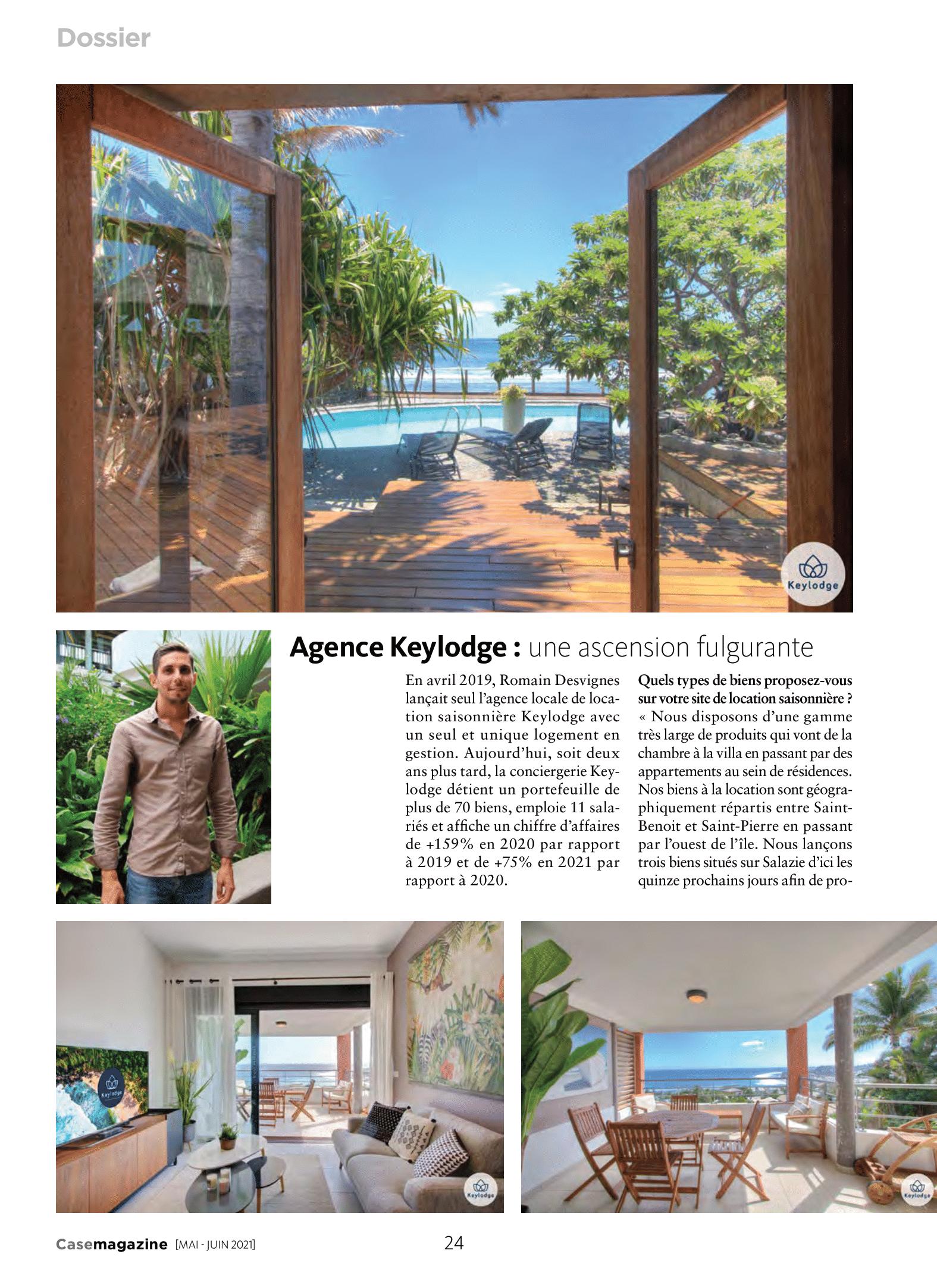 Découvrez l'article sur Keylodge agence de location saisonnière à la Réunion dans Case Magasine